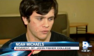 Noah Michaels, St. John Fisher College, signs up to be an organ donor