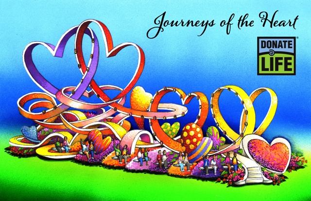 "Donate Life Rose Bowl Parade float showing the theme ""Journeys of the Heart"""