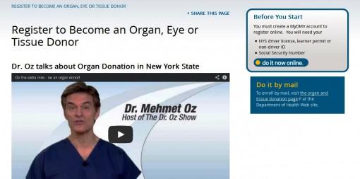 My NYS DMV Organ Donor Registry Enrollment
