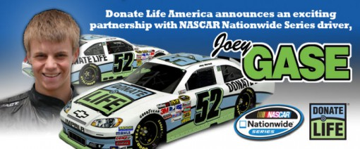 NASCAR driver Joey Gase supports organ donation