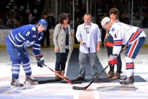 Scott drops the puck