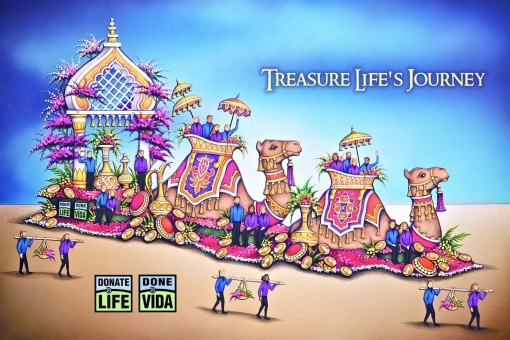 "A rendering of the Donate Life float that will appear in the 2016 Rose Parade. The float's theme is ""Treasure Life's Journey."" It depicts a caravan scene at a desert oasis. The float celebrates the journey of life and the legacy of adventures by organ, eye and tissue donors and recipients."