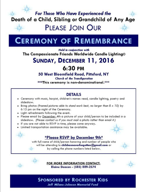 Ceremony of Remembrance – Sponsored by Rochester Kids, Jeff Milano